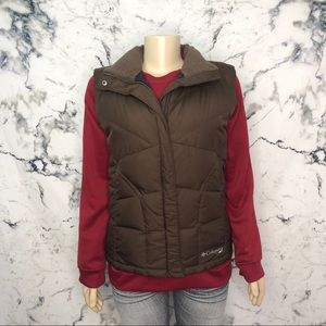 Columbia Down Filled Feather Winter Vest Brown